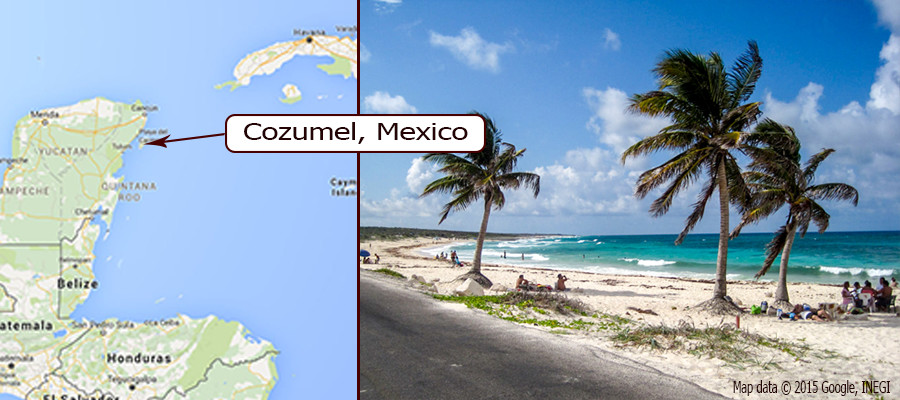 cozumel map and ocean side