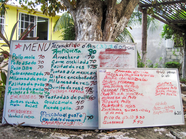 restaurant menu board cozumel mexico