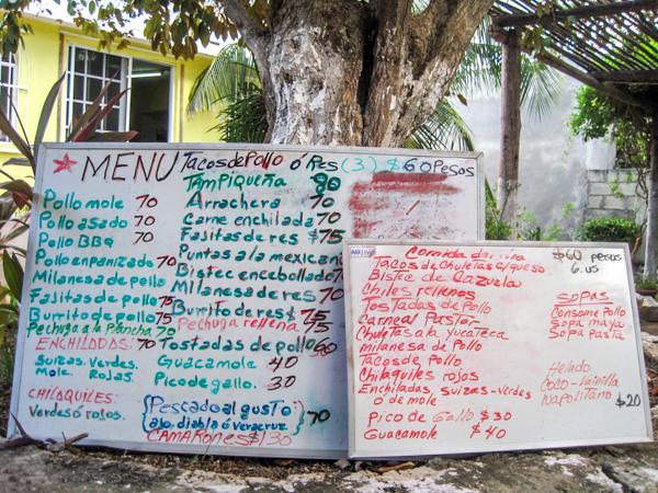 restaurant menu board cozumel mexico