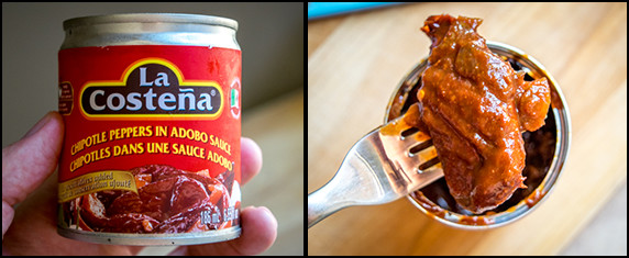 chipotle in adobo can and closeup dark