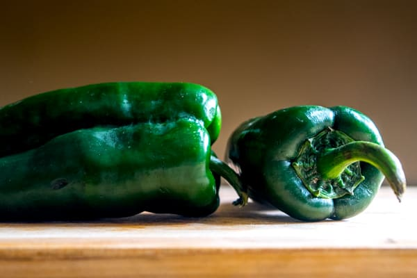 two poblano peppers