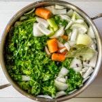vegetable stock before simmering overhead