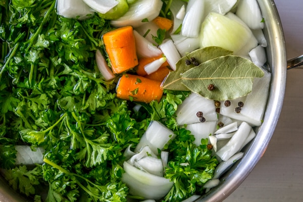 vegetable stock before simmering
