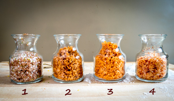 4 types of flavored salt with numbers