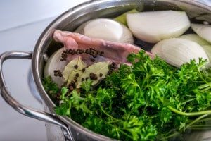 chicken stock just before cooking