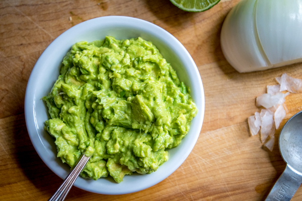 basic guacamole with onion and lime