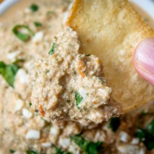 pumpkinseed dip photo with chip dipping