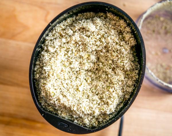 pumpkinseeds in spice grinder ground up