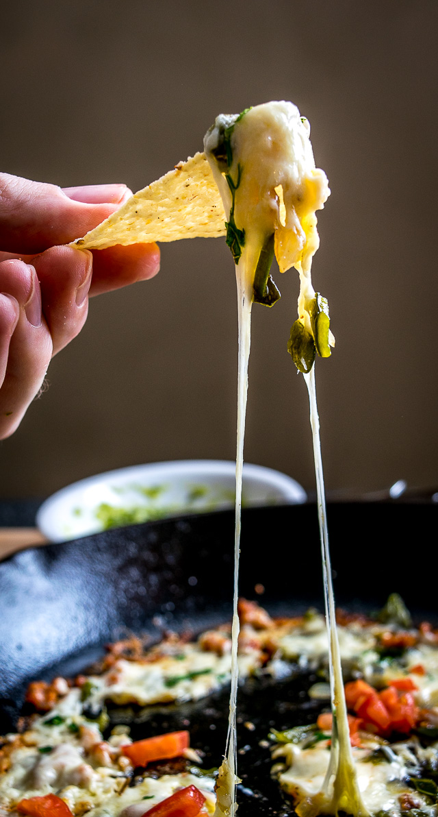 Cheesy dip anyone? Roasted poblano peppers give this Single Serving version of Queso Fundido a rich, delicious flavor: the ultimate comfort food! mexicanplease.com