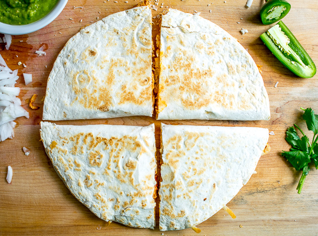 Leftover tinga? Make Tingadillas! Cheesy Chicken Tinga Quesadillas with Green Sauce | mexicanplease.com