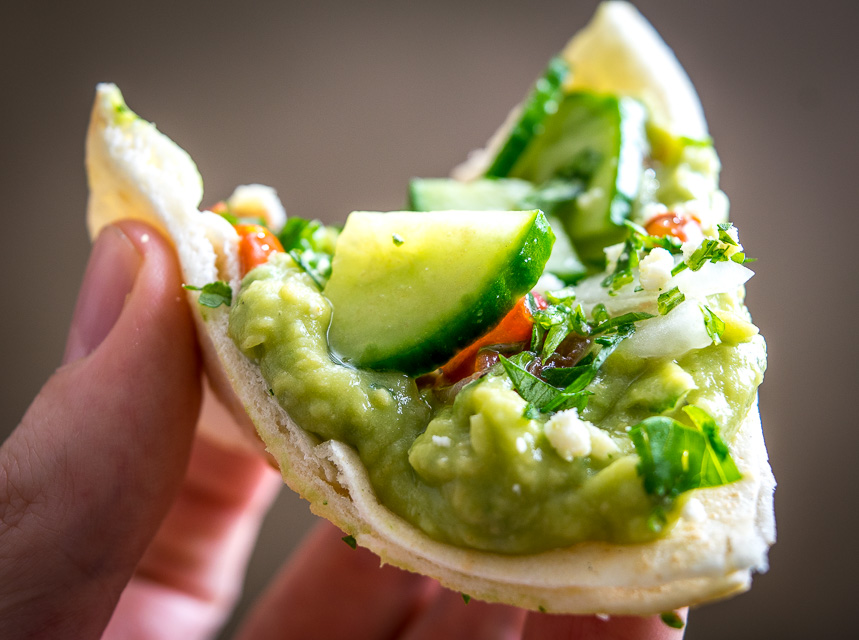 Avocado Hummus tostadas on Pita bread