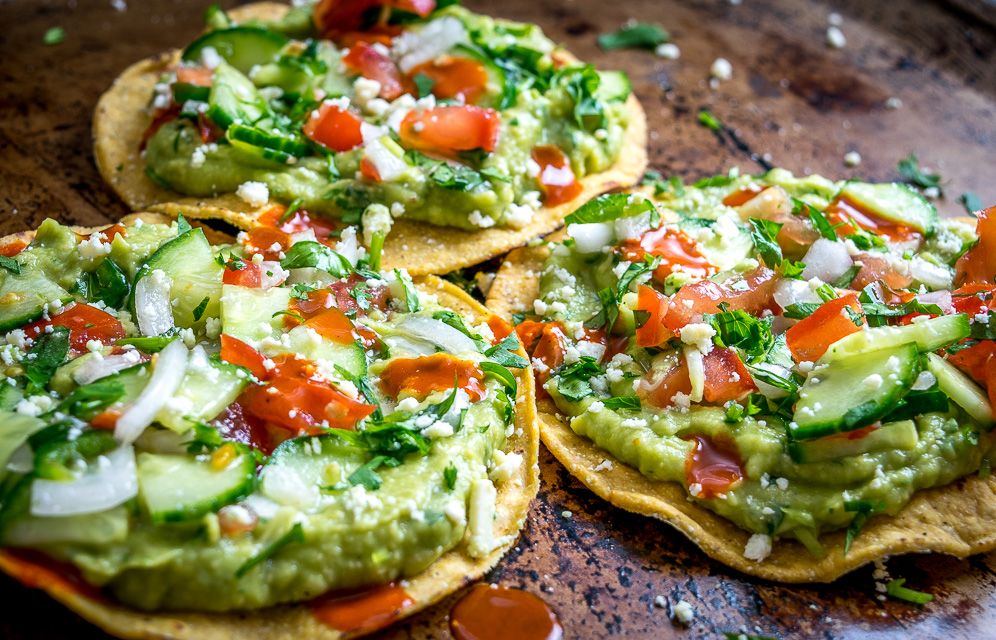 Avocado Hummus And Cucumber Pico De Gallo Tostadas Mexican Please