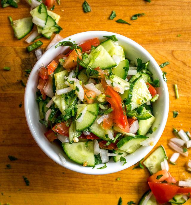 Cucumber Pico de Gallo after chopping it all up