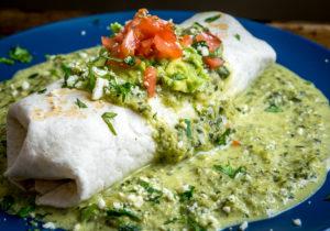 Wet Poblano Burrito  — Chicken Burrito With Creamy Poblano Sauce