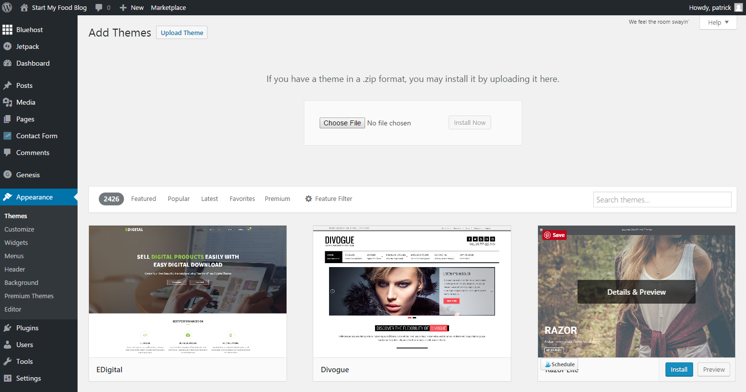 how to start a food blog upload theme