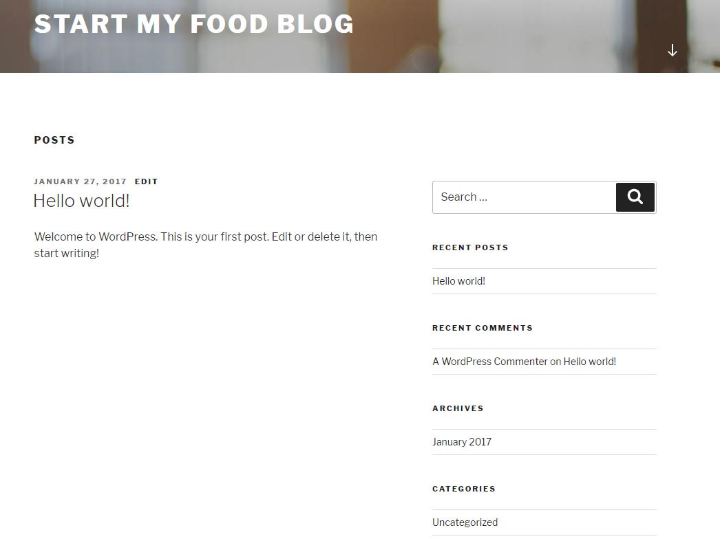 how to start a food blog wordpress 2017 theme