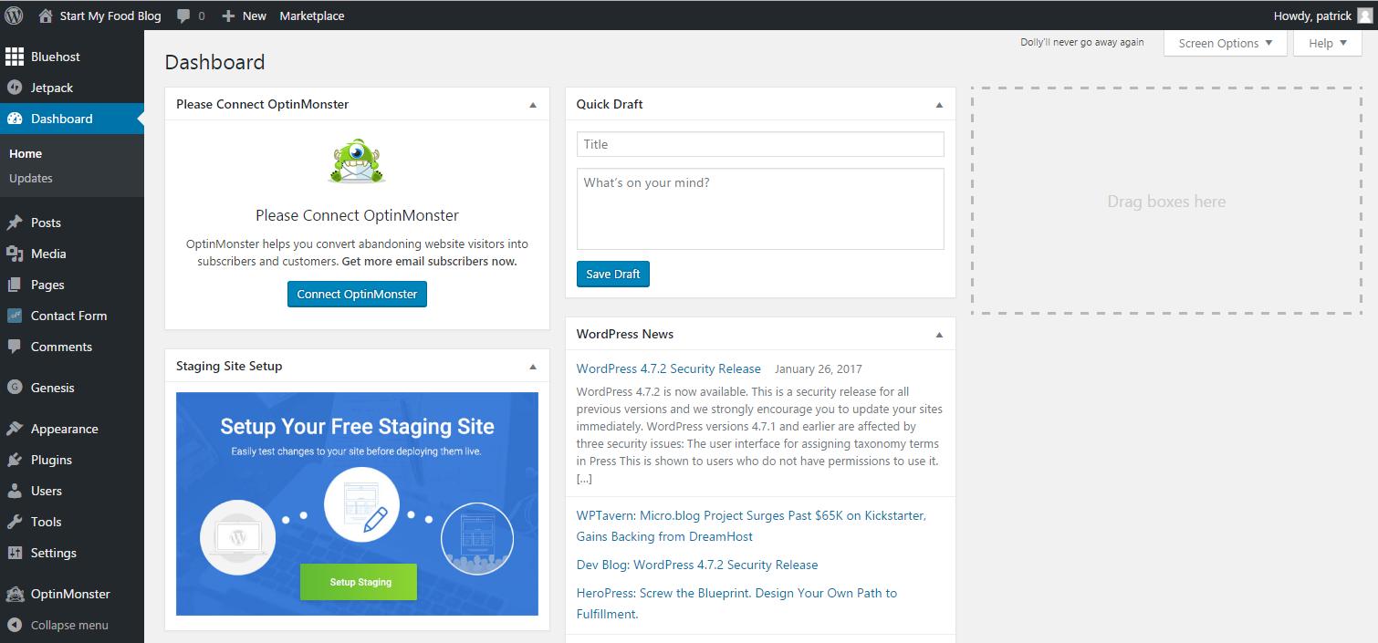 how to start a food blog wordpress dashboard