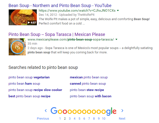 pinto bean soup google rankings