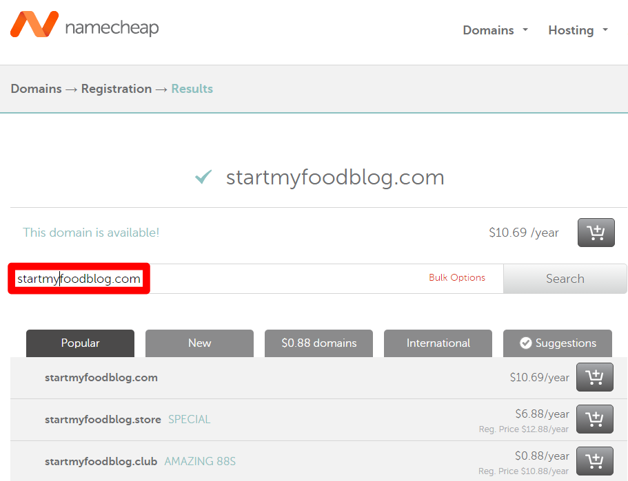 start my food blog domain registration annotated