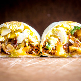 It would be easy to give all the credit to the chorizo in these epic breakfast burritos. But it's the tomatillo salsa that really amps them up. So good! mexicanplease.com