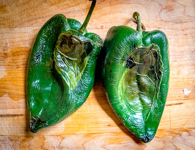 roasted poblano peppers for green rice