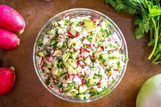 This Cucumber Radish Salsa is a great example of how easy it can be to build salsas that don't rely on tomatoes or tomatillos. A light, vibrant salsa that works great on tacos, tostadas, and even pita bread. mexicanplease.com