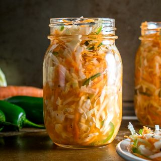 Curtido is a lightly fermented cabbage slaw common in Central America. The jalapeno gives it some real zip but you can always dial back on it if you want. mexicanplease.com