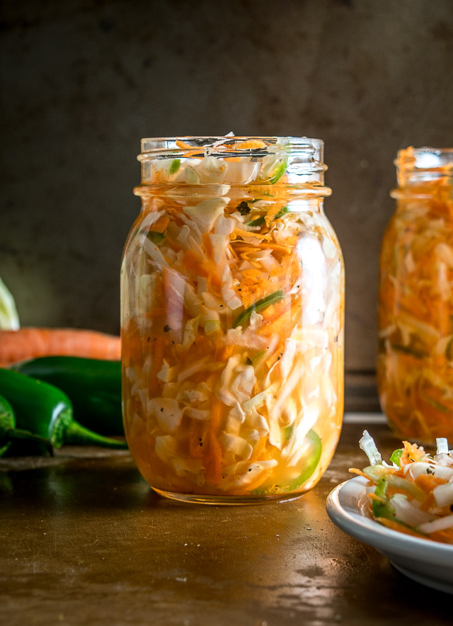 Curtido is a lightly fermented cabbage slaw common in Central America. Using a jalapeno gives it some real zip but you can always dial back on it if you want. mexicanplease.com