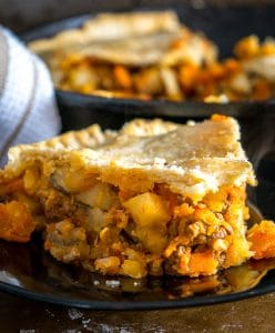 Beef Picadillo Skillet Pot Pie