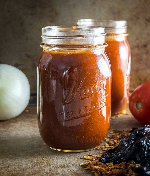This is a great recipe for a huge batch of delicious enchilada sauce. It will freeze quite well so feel free to throw a few portions in the freezer. Yum! mexicanplease.com