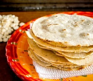 Corn Tortillas Made With White Olotillo Corn