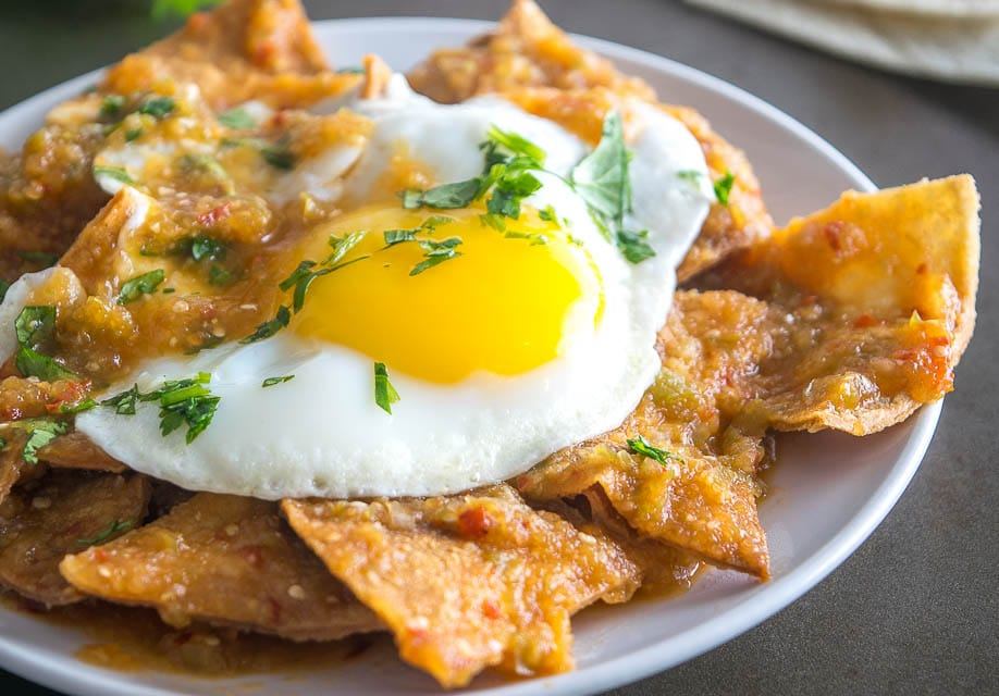 sunny side up egg on chilaquiles