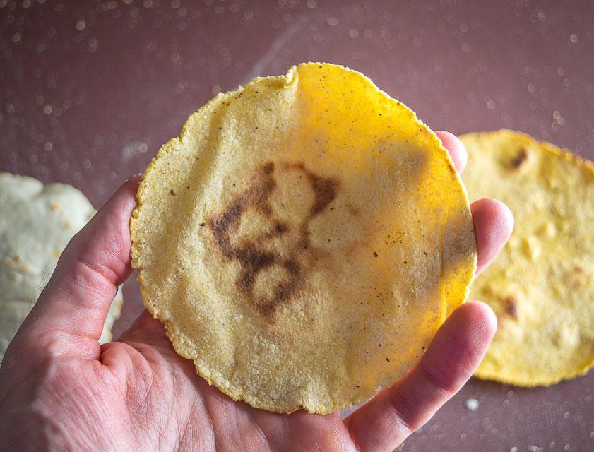 Corn Tortilla made using Bob's Red Mill masa harina