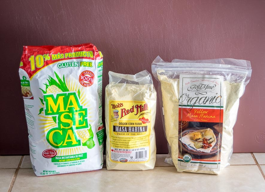 Maseca, Bob's Red Mill, and Gold Mine masa harina comparison.