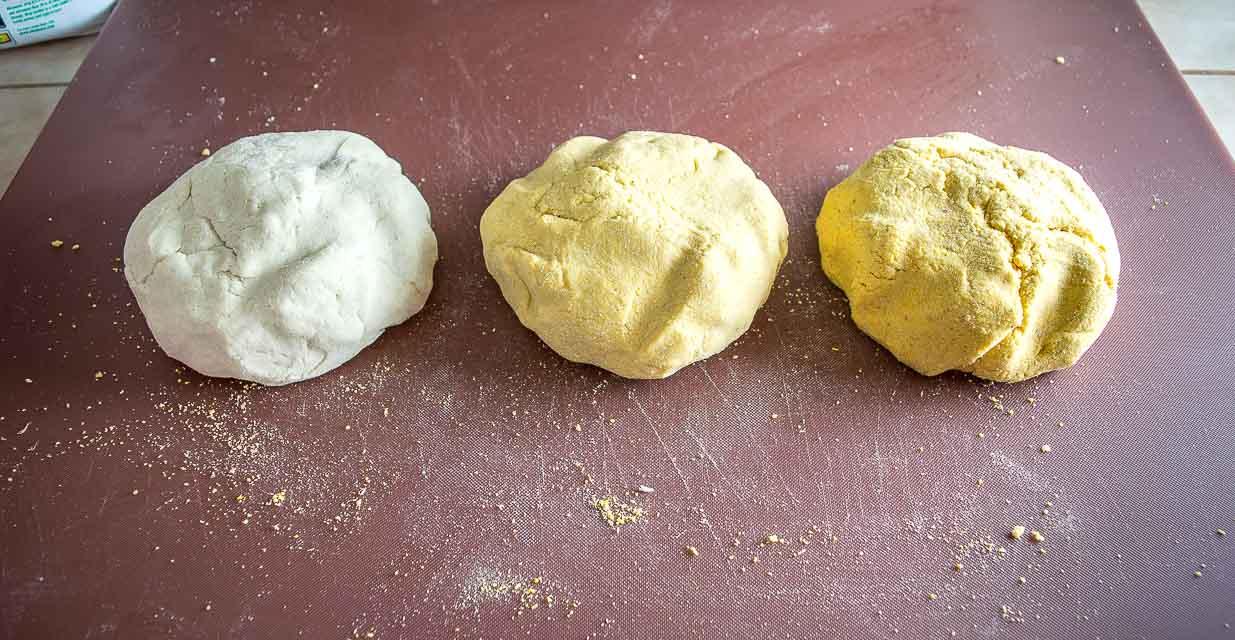 Masa dough using three different masa harinas.