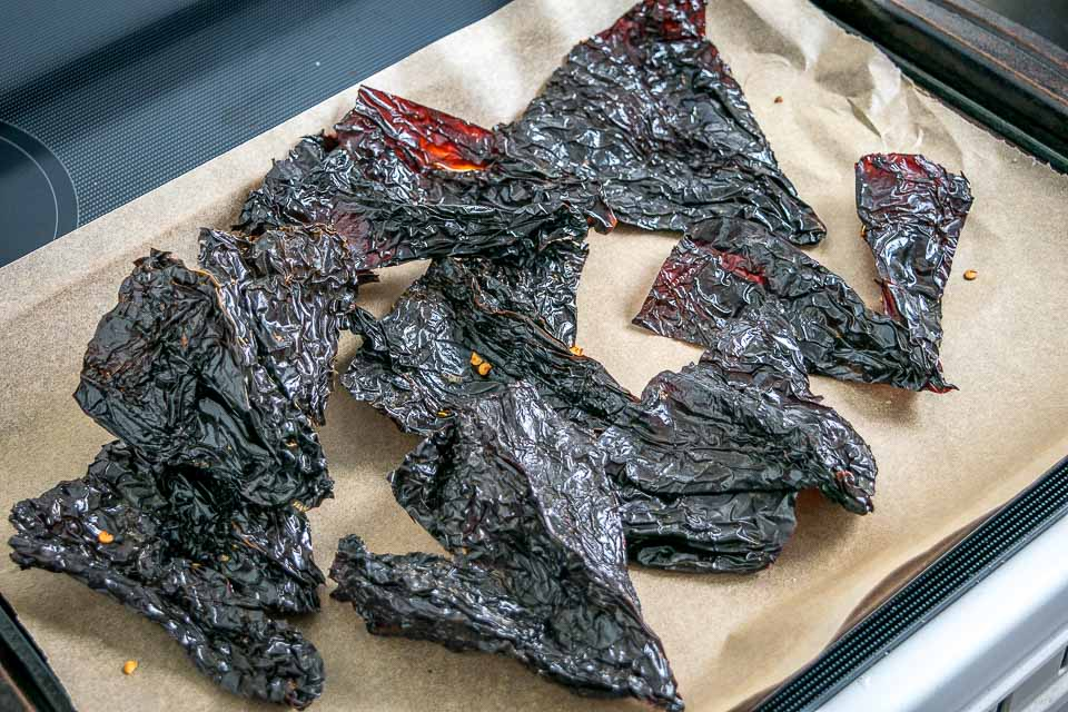 Roasting Ancho Chiles in the oven.