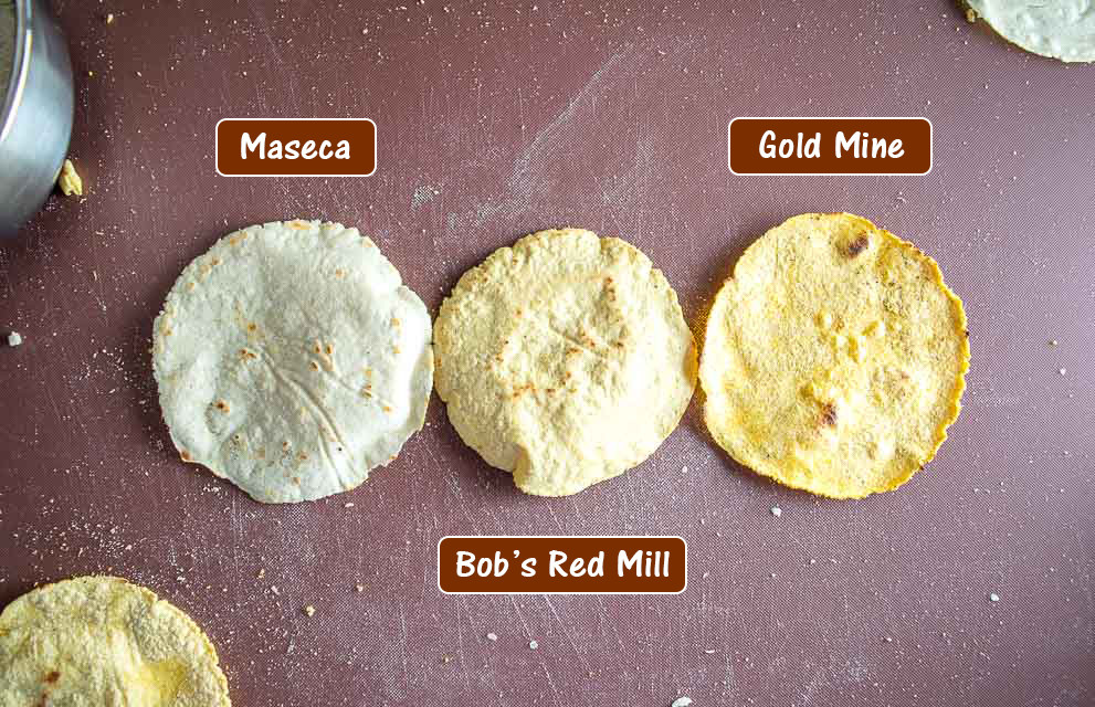Maseca, Bob's Red Mill, and Gold Mine Masa Harina tortillas.