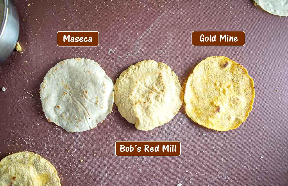 Maseca, Bob's Red Mill, and Gold Mine Masa Harina tortillas.