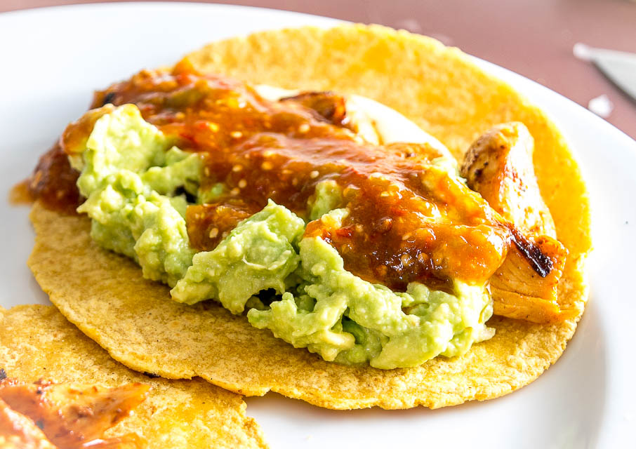 Chicken Tacos with Guac and homemade Salsa! mexicanplease.com