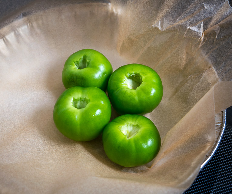Roasting tomatillos for homemade Salsa.