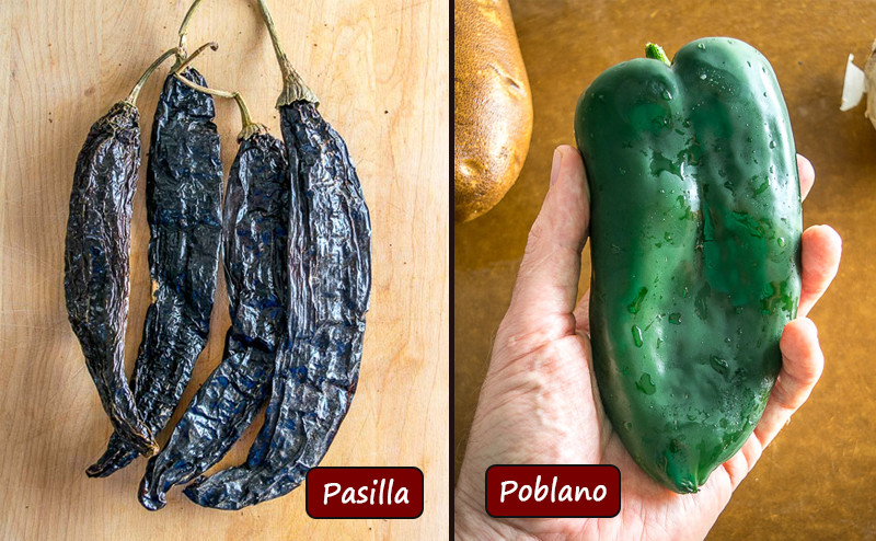 Difference between poblano and pasilla chiles