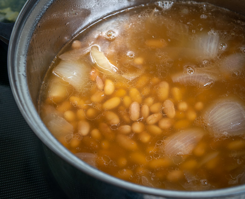 Mayocoba pot beans after simmering for 90 minutes