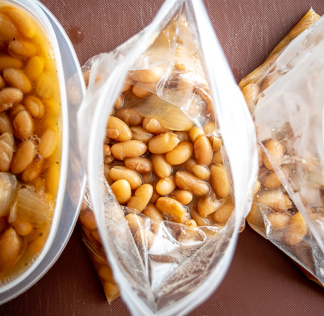 Portion beans into ziploc bags