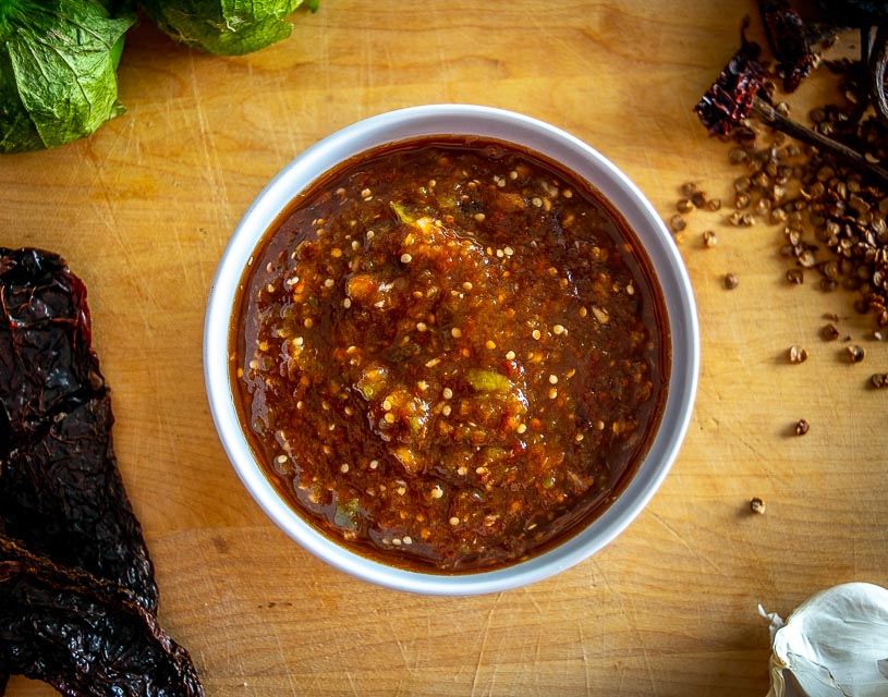 Here's an easy recipe for the fiery, smoky Pasilla de Oaxaca Salsa. I like it borderline volcanic, but you can always dial back on the heat if you want. mexicanplease.com