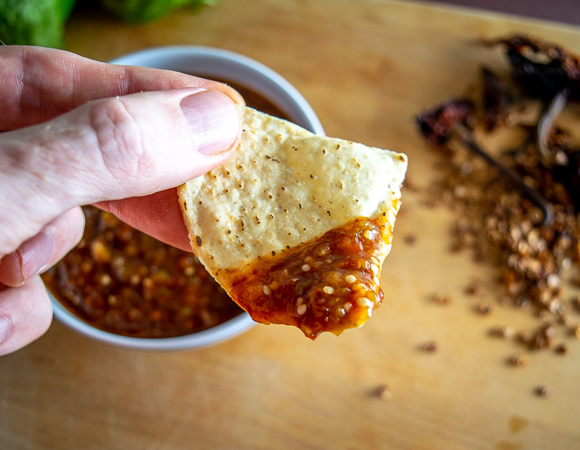 Taking a bite of Pasilla de Oaxaca Salsa