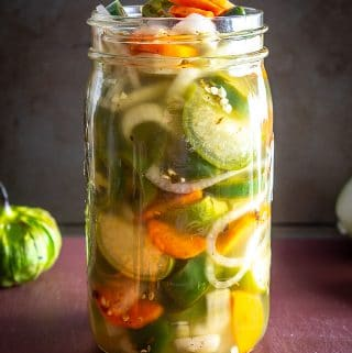 Here's my recipe for a batch of Pickled Everything -- jalapenos, carrots, onions, and tomatillos. Yes, tomatillos! mexicanplease.com