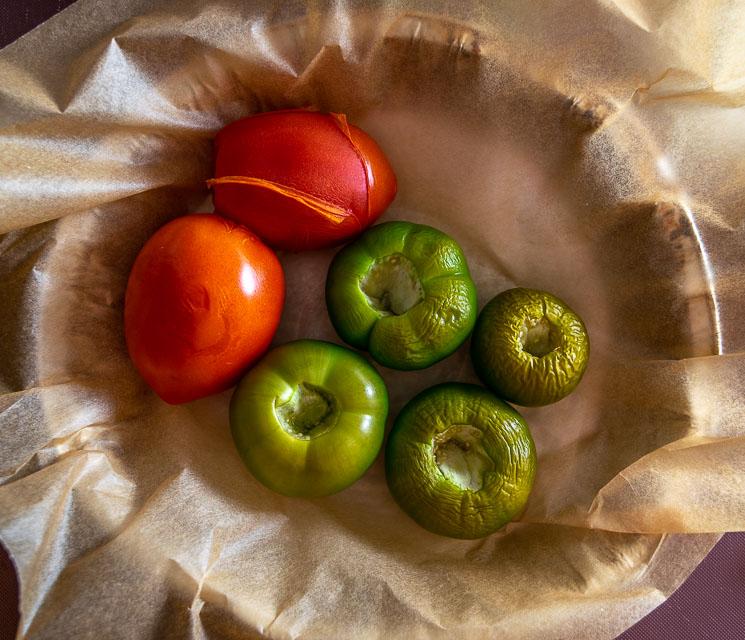 Tomatillos after 20 minutes roasting