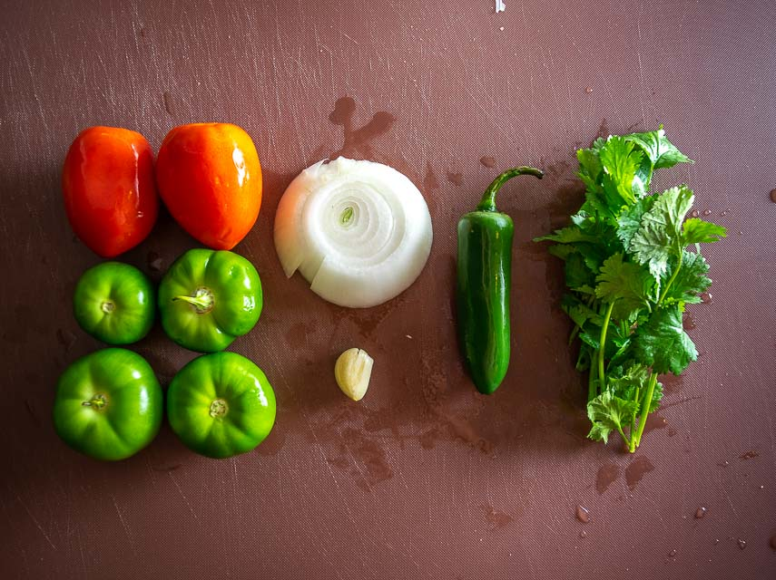 Ingredients for Roasted Tomato and Tomatillo Salsa