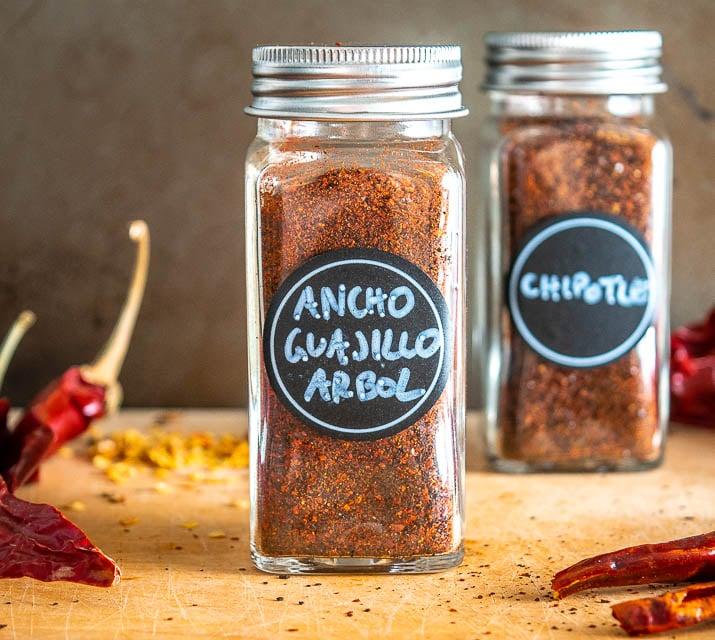 Ancho, Guajillo, Chile de Arbol chili powder