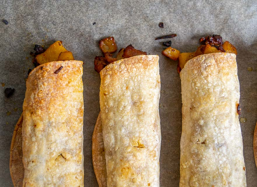 Taquito edges turning brown